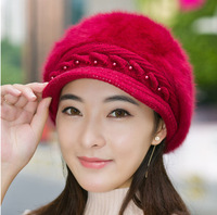8 Colors Rabbit Fur Black Hat Women Winter Thick Cap Elegant Solid Soft Women Beret Hat