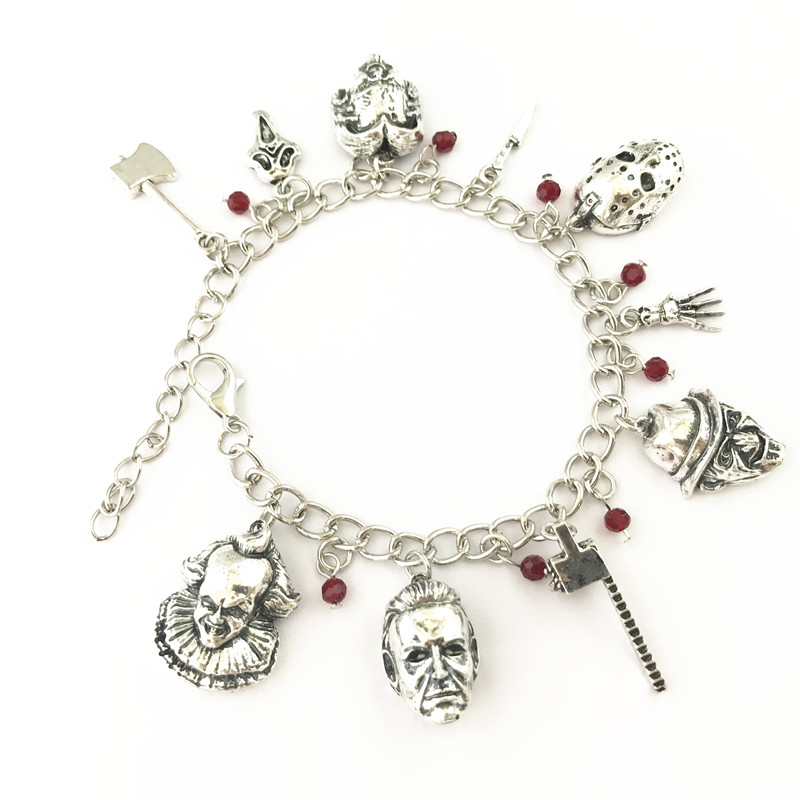 Fashion Chucky Face Stephen Kings IT Penny Wise Jason Hockey Horror charm bracelet in Chain Link Bracelets from Jewelry Accessories