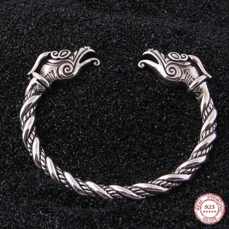 Яге дропшиппинг 925 пробы серебро Руна Дракон Викинг регулируемый браслет