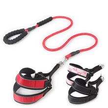 Pet Dog Harness Leads V-shaped foam handle chest back reflective traction rope Medium and large Leash Supplies product