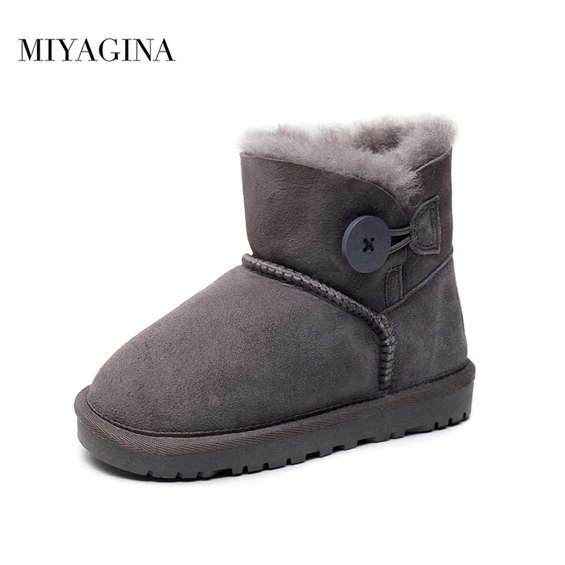 8013be7b8c6 2019 New Fashion Winter Children Boots Boys Girls 100% Genuine Sheepskin  Leather Natural Fur Non-slip Snow Boots Kids Shoes