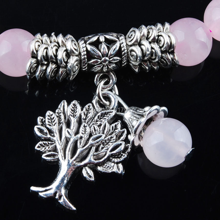 Natural Rose Quartzs Gem Stone 8mm Beads Women Bracelet