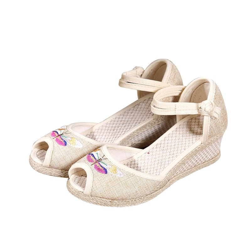 Wedges Sandals Shoes Women Mouth Peep-Toe Summer Old Fish Ethnic Embroider Beijing-Cloth