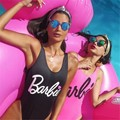 Women Summer Swimwear One Piece Fashion Sexy Barbie Bandage Bodysuit Suit Funny Letter Jumpsuit Rompers Bayan Tulum Macacao