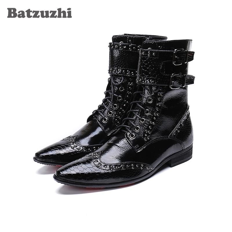 купить Batzuzhi Fashion Leather Boots Men Pointed Toe Military botas hombre Men Korean Black Dress Ankle Boots Male Buckles, Big US6-12 онлайн