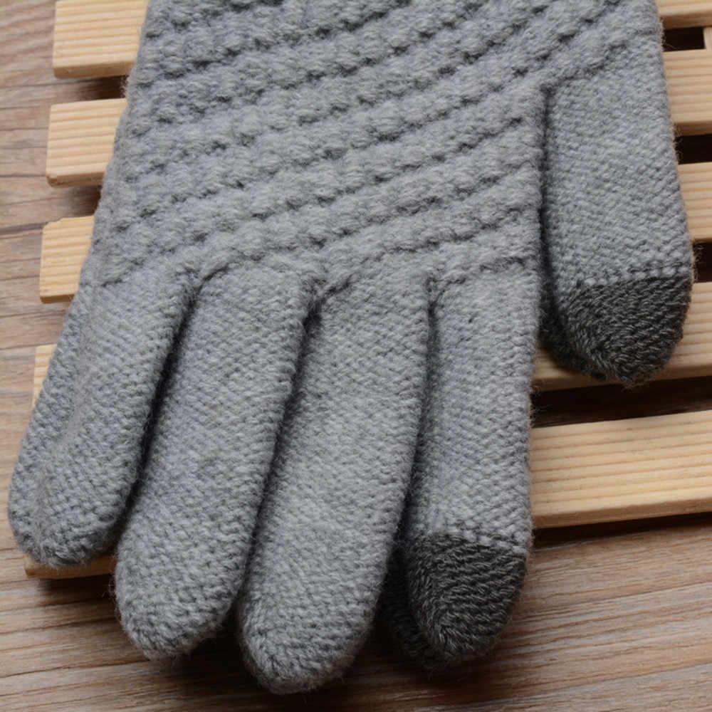 KANCOOLD חורף כפפות נשים 1 זוגות חם מגע מסך עבור בנות נקבה למתוח לסרוג כפפות אביזרי צמר Guantes PSEPO4
