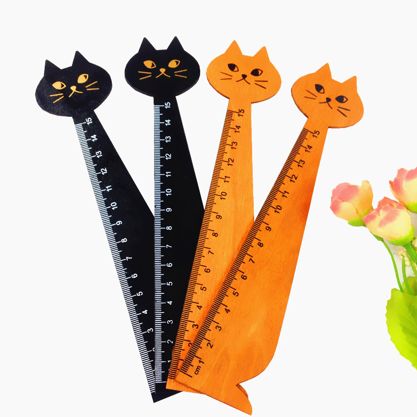 1pcs/lot Vintage Cute Cat Design Wooden Ruler Students DIY Drawing Straightedge Decoration Shoot Props Kawaii Cats Wood Bookmark