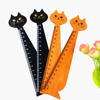 1pcs/lot Vintage cute cat design wooden ruler Students DIY drawing straightedge Decoration Shoot Props Kawaii cats wood Bookmark - discount item  35% OFF Drafting Supplies