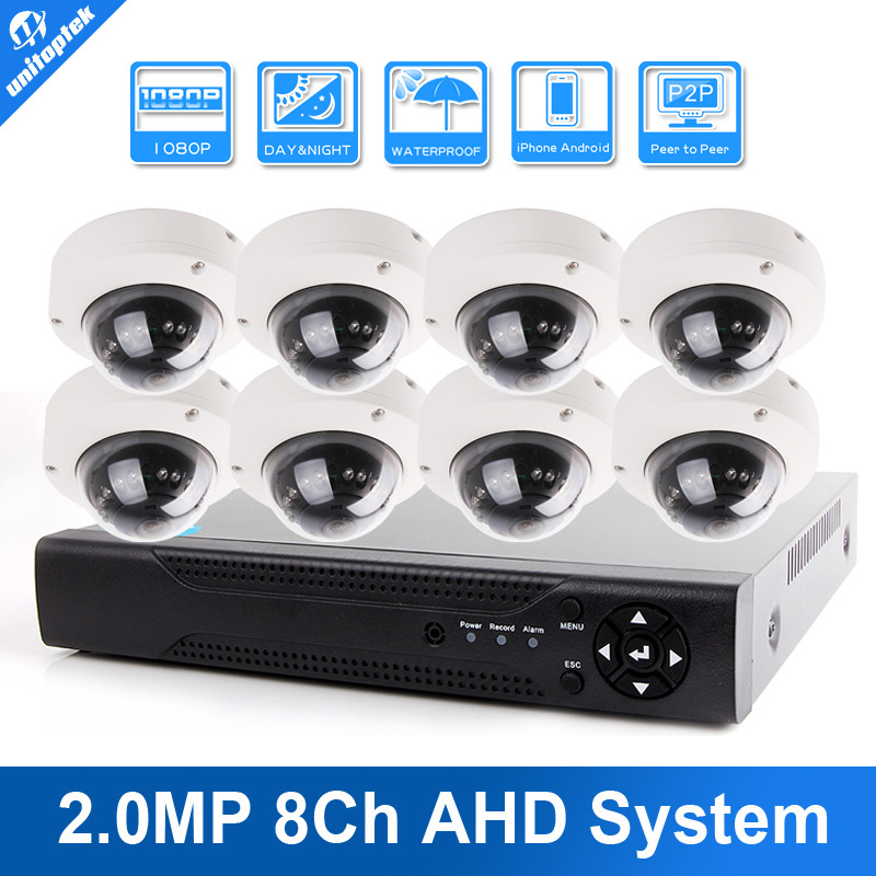 Home CCTV Security System 8CH AHD DVR System KIT 1080P HD IR 10M Day/Night Video Complete Outdoor Dome 8pcs 2MP AHD Camera Kit cctv 4ch 1080p ahd recording kit with hd 2mp dome ir day night 4 channel ahd camera kit video surveillance home security system
