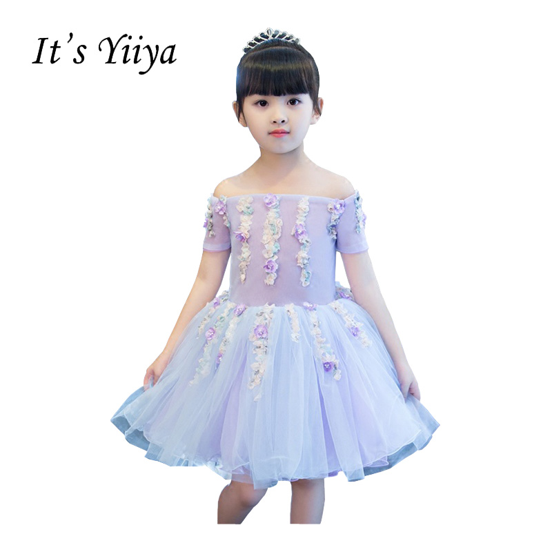 It's YiiYa Purple Chiffon Illusion Off Shoulder   Flower   Knee Length Ball Gown Zipper Princess   Flower     Girl     Dresses   Communion TS245
