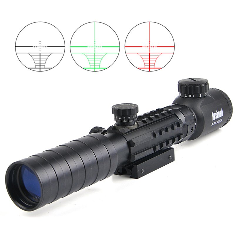 BUSHNELL 3-9x32 EG Tactical Riflescope Red /Green Illuminated Optic Sight Sniper Scopes Hunting Fits 11/20 Rail Mount mossy oka lb 3 9x32 hunting scopes tactical riflescope sniper scope outdoor tactical hunting gun with 11 20mm mount