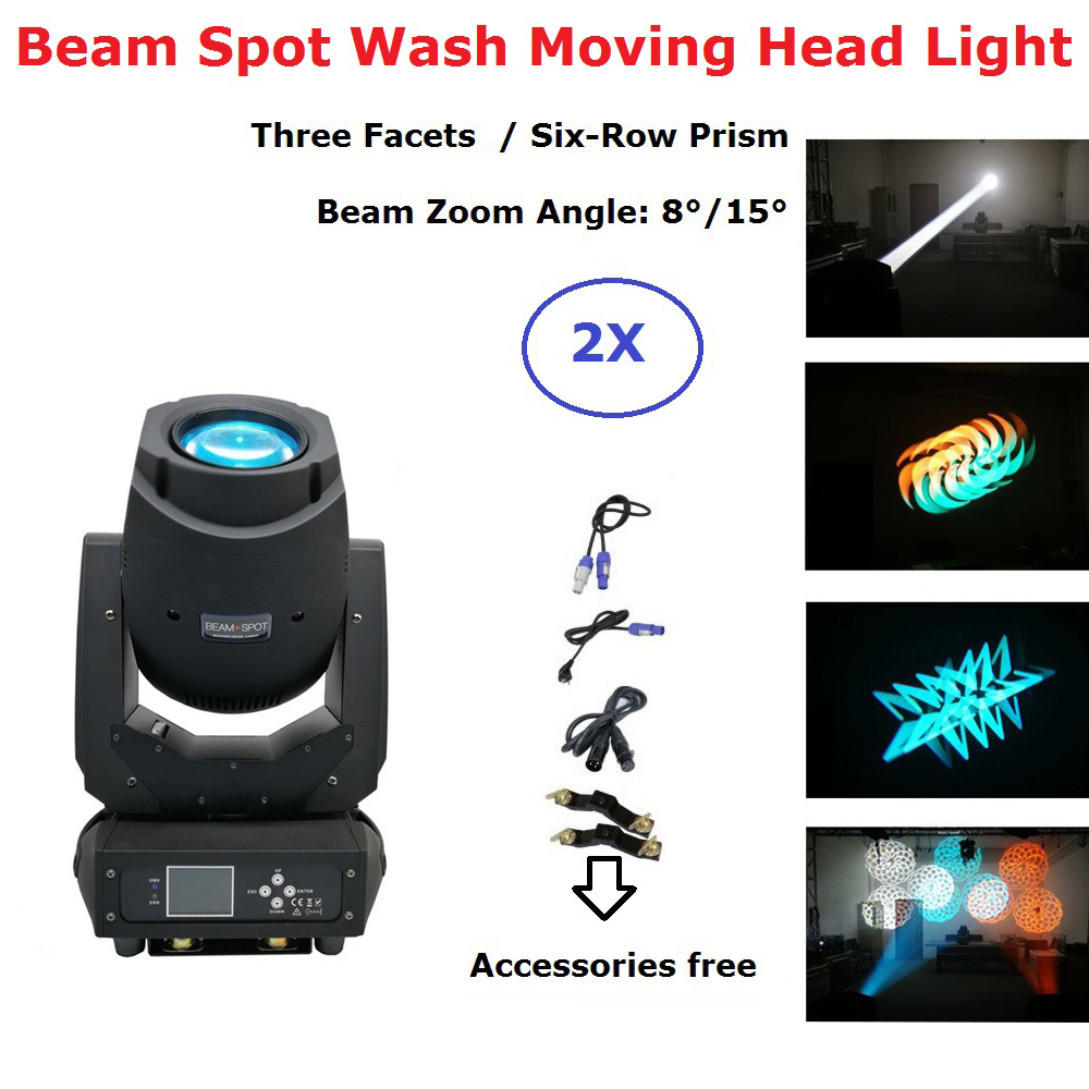 2XLot Newest 200W LED Moving Head Lights Beam Spot Wash 3IN1 LED Stage Lights Perfect For