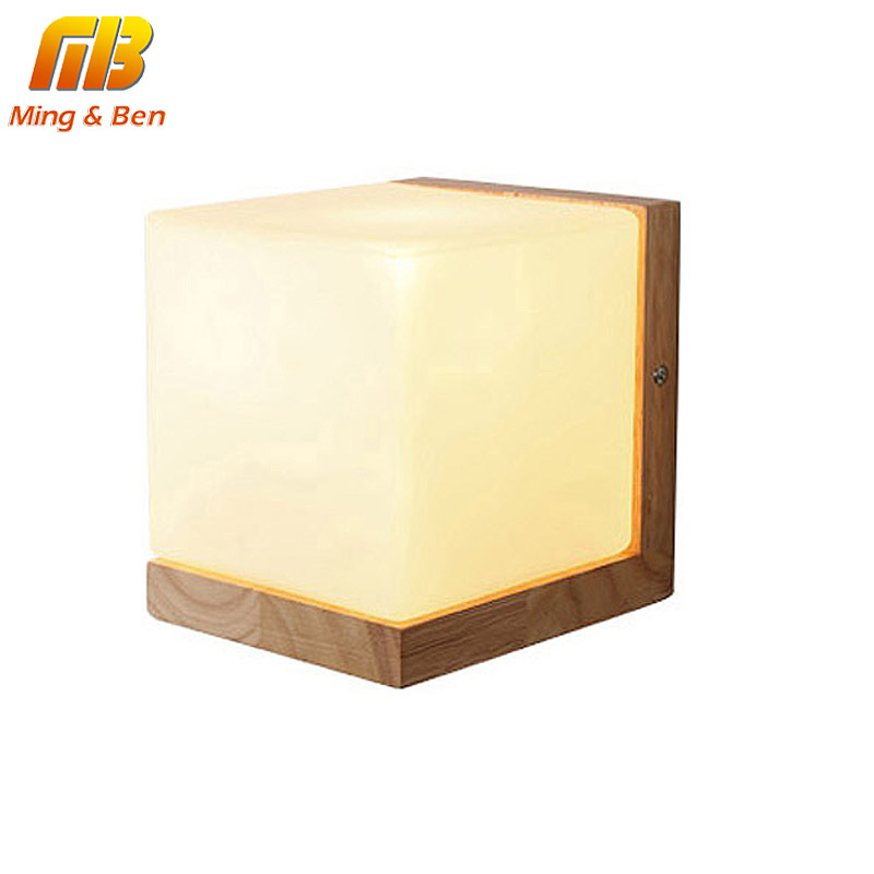 [MingBen] Wall Lamp Night Light Wood+Glass Vintage Modern Style E27 Socket For Bedroom Foyer Decorate the Wall AC90-260V Max40W modern led wall lamp gold body glass dining room wall lamps cafe bedroom lights glass wall light e27 bedside lamp ac90 260v