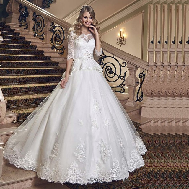 new design 34 sleeves lace wedding dress hot sale scoop neck appliques sequined wedding