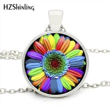 HZShinling HZ1- MINI-0026 High Quality Colorful Rainbow Flower Pendant Necklace Round Jewelry Gay Pride Necklaces For Gay Gift(China)