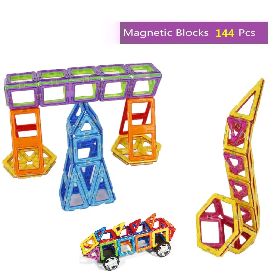 144pcs Magnetic Designers Construction Building Blocks Educational Toys Magnetic Brick Building Block Toys Gifts for Kids