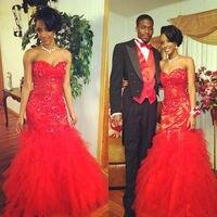 Robe De Bal Longue Red Junior Prom Dresses Appliques Off The Shoulder Ruffle Floor Length Prom