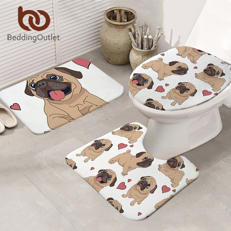 BeddingOutlet 3pcs Bath Mats Hippie Pug Non-slip Bathroom Mat Set Cartoon Animal Toilet Seat Cover Bulldog Rugs Mats Carpet