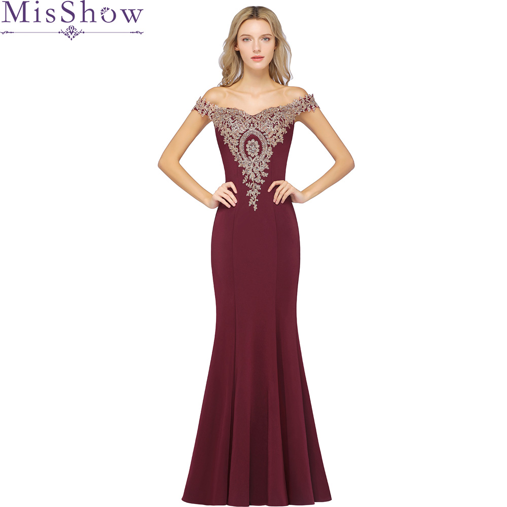 New Party Gowns Off The Shoulder Burgundy Applique Mermaid Evening Dress Floor-length Beading Zipper Back Trumpet Prom Dresses