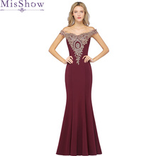 New Party Gowns off the shoulder Burgundy Applique Mermaid Evening dress Floor-length Beading Zipper back trumpet Prom dresses sexy 2019 prom dress burgundy beaded sequined mermaid prom dresses lace applique off shoulder floor length