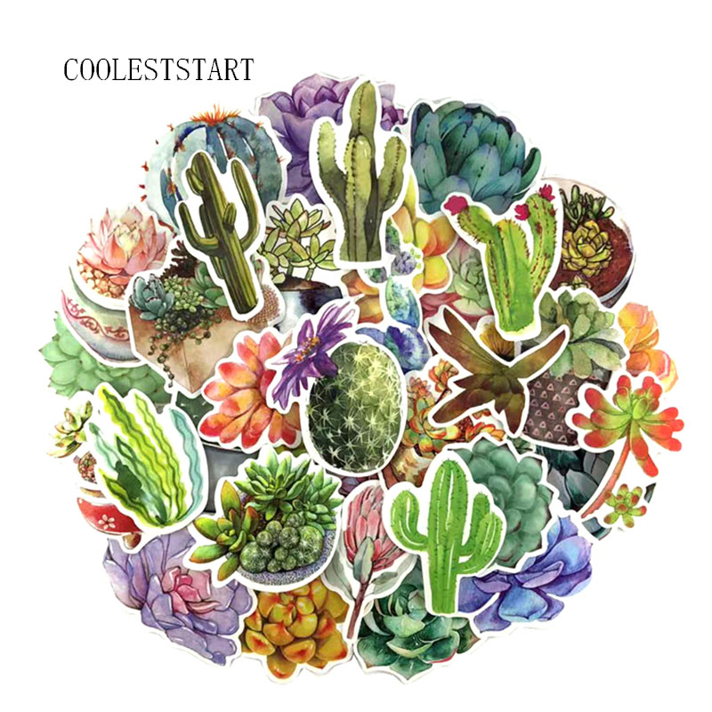 71 Pcs/Set Succulent Plants Graffiti Sticker Cactus For Luggage Laptop Car Skateboard Guitar Fridge Decal Toy PVC Waterproof