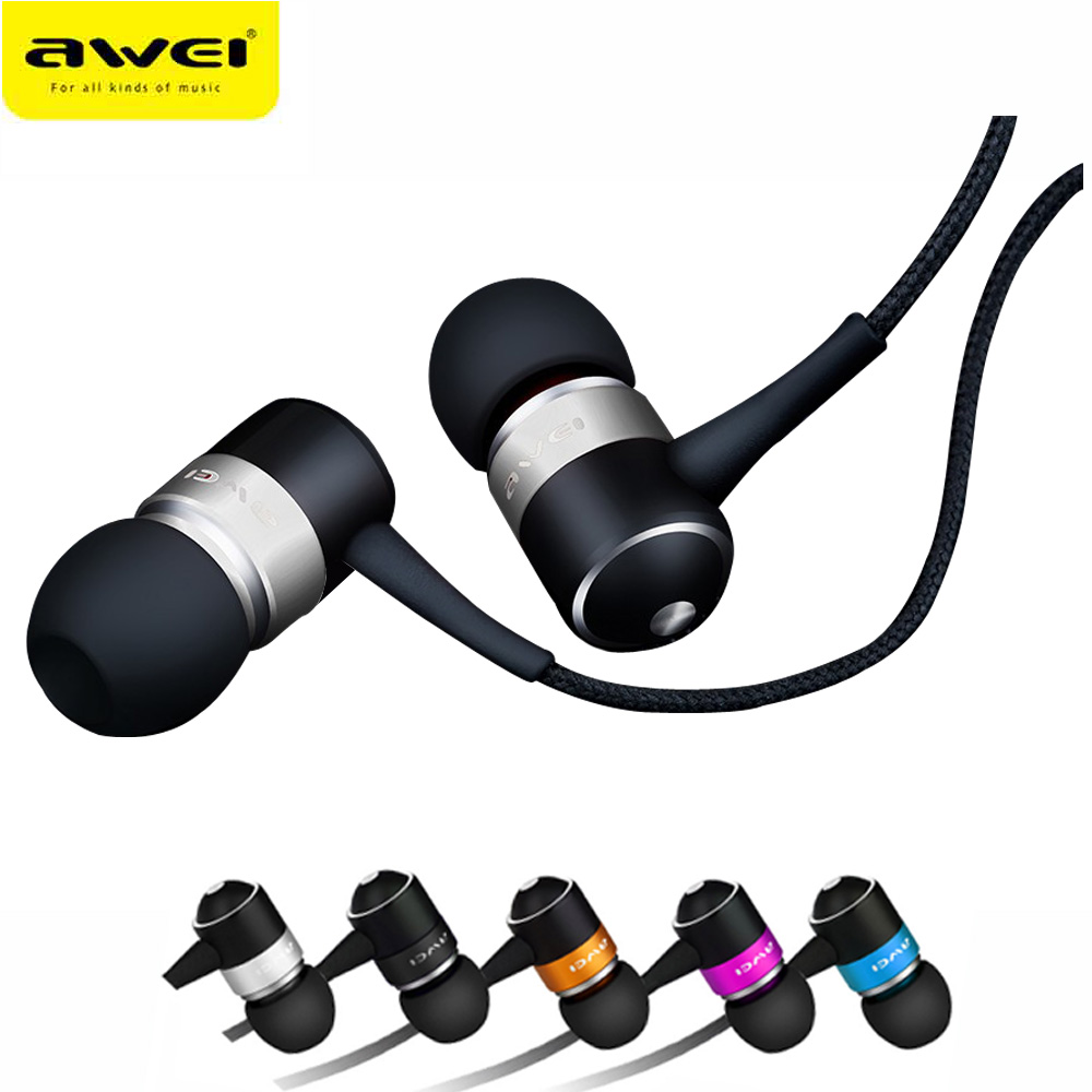 In-Ear Earphone Awei ES Q3 Stereo Earbuds Super Bass Sound Isolation Headset For iPhone Samsung Huawei MP3 Mobile Phones original awei q9 bass earbuds 3 5mm in ear wooden earphone for iphone xiaomi samaung