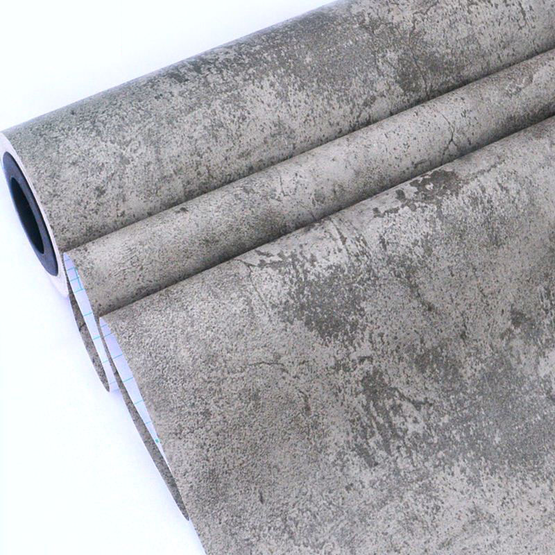 Vintage Gray Cement Wall Paper PVC Self Adhesive Lnternet Cafe Living Room Background Decor Sticker Cabinet Waterproof Wallpaper