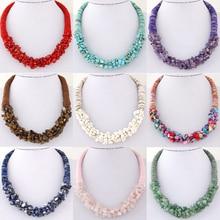 New SPX6548 Fashion Amazing Bohemian Bib Bead collar Statement big chunky Leather Ocean stone short necklaces