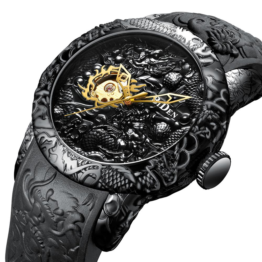 Fashion Automatic Mechanical Men's Watch Gold Dragon Sculpture Watch Men Quartz Clock Top Brand Luxury Waterproof Sports Watches
