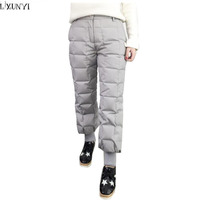 LXUNYI White Duck Down Pants Winter Women Elastic Waist Work Wear Women S Fashion Snow Plus