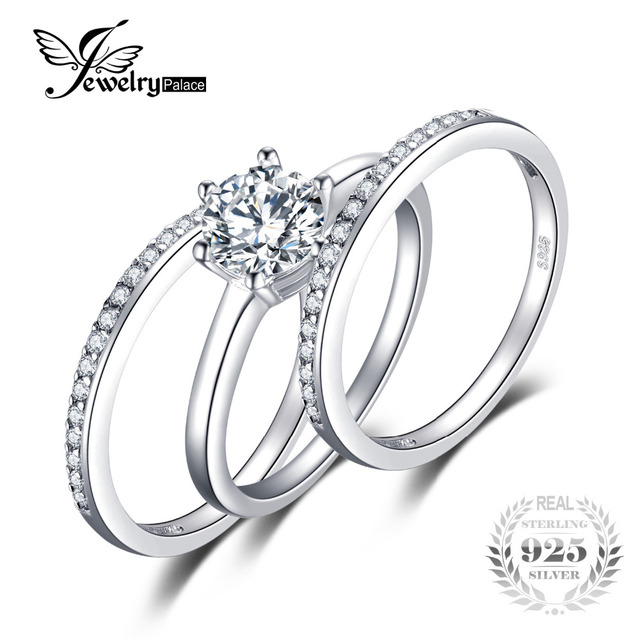 3 Pieces Band Ring Genuine 925 Sterling Silver Ring Set Prongs Round Cut Setting