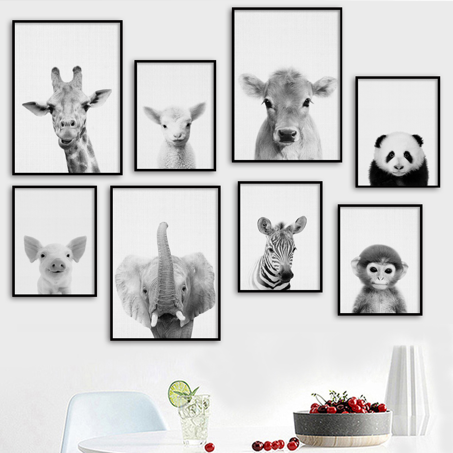 Giraffe Zebra Elephant Cow Panda Monkey Nordic Posters And Prints Wall Art Canvas Painting Pictures For Living Room Decor