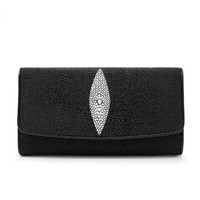 100% Genuine Stingray Skin Men's Trifold Long Clutch Wallet Black White Color Exotic Leather Unisex Male Purse Large Capacity
