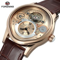 FORSINING Men S Top Brand Watches Automatic Luxury Stainless Steel Case Genuine Leather Strap Men Clock