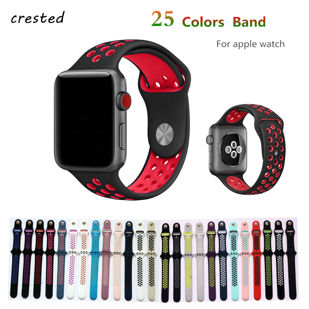 все цены на Silicone strap for apple watch band 42mm 38mm bracelet sport wrist belt Rubber watchband for iwatch 3/2/1 Nike+metal Adapter онлайн