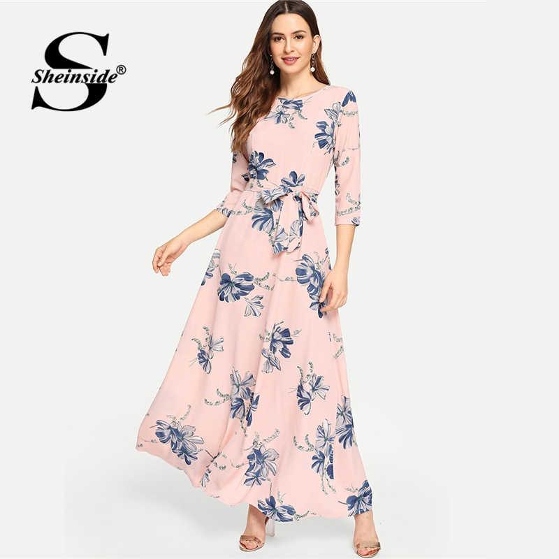 a19de9efc Sheinside Floral Print Self Tie Waist A Line Women Pink Dress Elegant Long  Sleeve Ladies Dresses