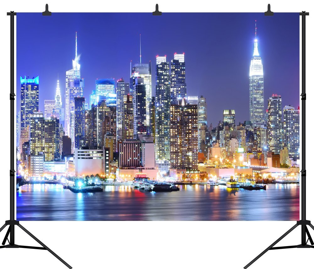 Capisco New York City Manhattan Night Scene Skyscraper Urban Light Seamless Photography Backdrop Photo Background Studio Props
