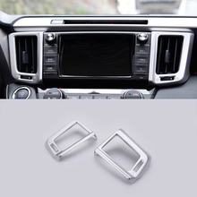 For Toyota RAV4 2016 2017 ABS Chrome Navigation Side Air Condition Outlet Cover Centre Control Panel Trim Sticker Car Accessory for toyota rav4 2016 2017 abs chrome navigation side air condition outlet cover centre control panel trim sticker car accessory
