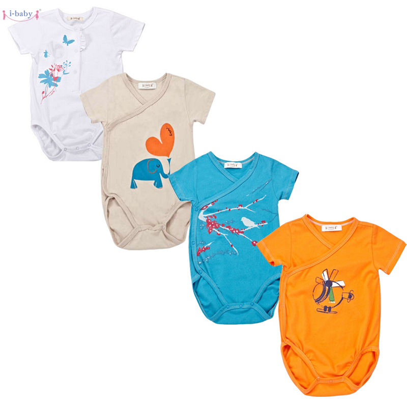 Clearance! 2PCS/LOT Baby Bodysuit Newborn Bebe Boy Girl Clothing 100% Cotton Short Sleeves O-Neck Striped Floral Infant Clothes