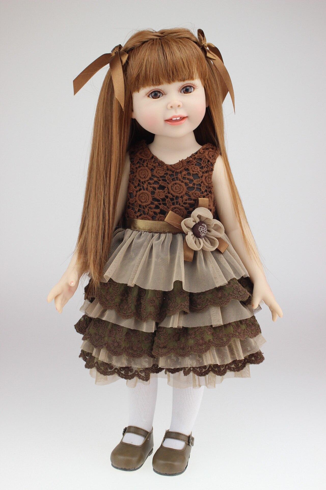 45 CM Simulation mignon princesse longue cheveux fille poupée Silicone Kawaii bricolage Tresses pour poupées habiller ensemble Reborn poupées enfants jouets