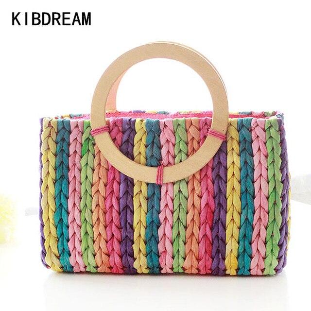 KIBDREAM 2017 Summer Straw Beach Bags High Quality Woven Straw Handbags Beach Tote Shoulder Bag Women Straw Handbags