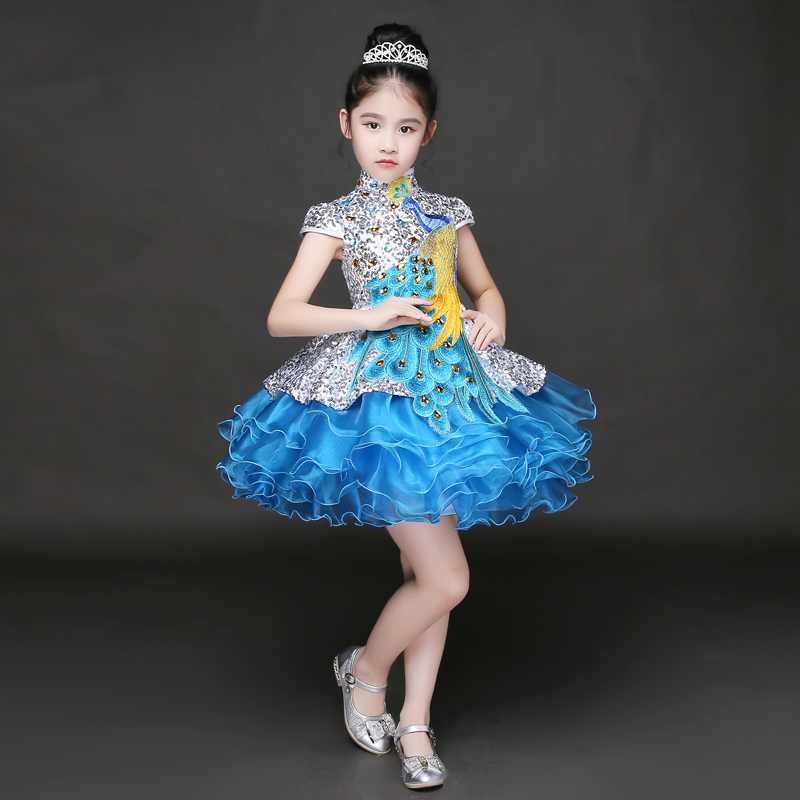 ФОТО 2 Style Luxury Trailing Crystal Ball Gown Mini Girls Wedding Dresses Summer 2017 New Short Sleeves Bow Kids Girls Clothes P32