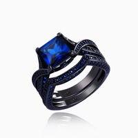Newshe Niebieski CZ Czarny Pistolet Plated Stałe 925 Sterling Silver Ring Zestawy Ślubne Zaręczyny Band Darmowa Wysyłka