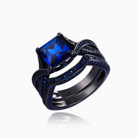 New Arrival Blue Sapphire Black Gun Plated Solid 925 Sterling Silver Ring Bridal Sets Engagement Band