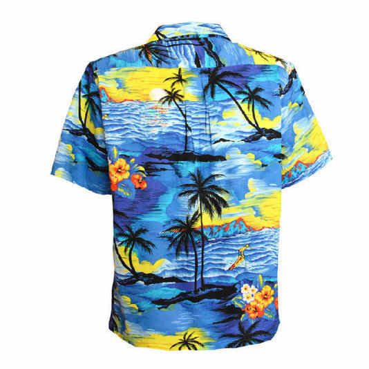 c1cf31fcf2f ... Men Aloha Shirt Cruise Tropical Luau Beach Hawaiian Party Sunset Palm  Tree Blue And Red US ...