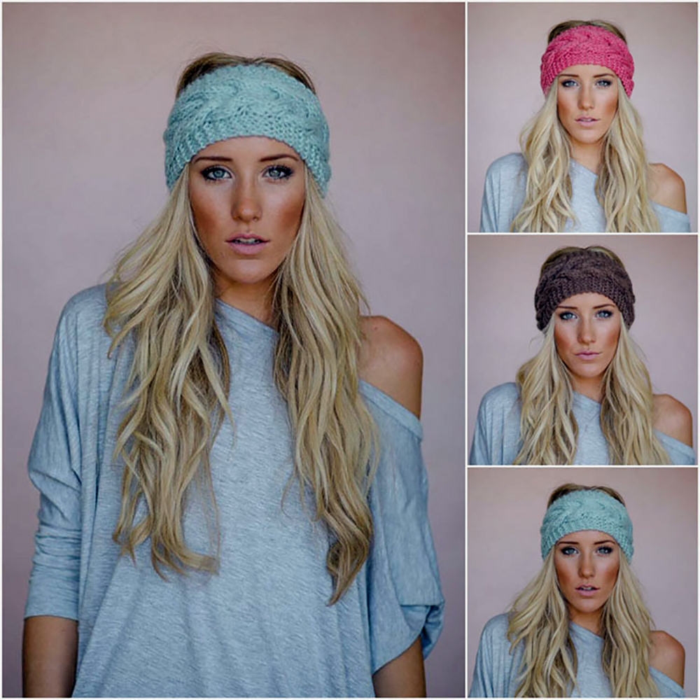 New Solid Wide Knitting Woolen Headband Winter Warm Earband Crochet Turban Hair Accessories For Women Girl Hair Band Headwraps