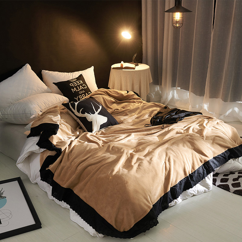 New Stylish Flannel Blanket with Black Lace Winter Warm Blankets for Beds Solid Color Throw Blanket Super Soft Bedspread new 2017 throw blanket 1piece 140 190cm cotton gauze terry blankets super soft dotted adult blanket 140 190cm brand