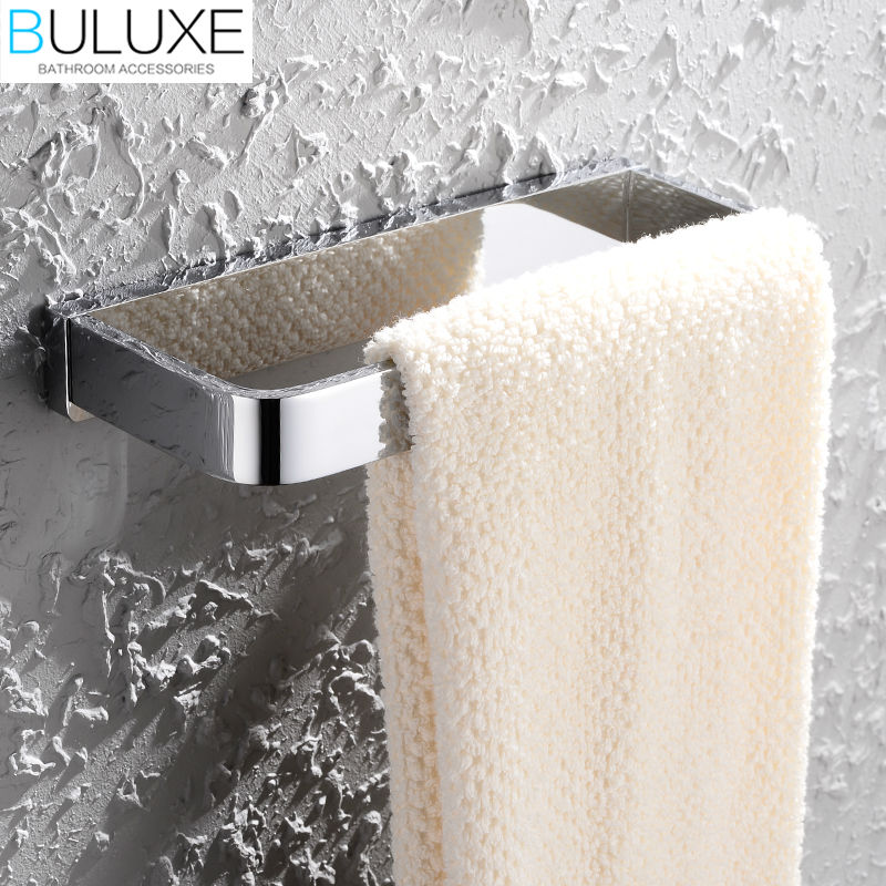 BULUXE Solid Brass Bathroom Accessories Towel Rack Holder Rings Chrome Finished Wall Mounted Bath Acessorios de banheiro HP7701 buluxe brass bathroom accessories towel bar rack holder chrome finished wall mounted bath acessorios de banheiro hp7736