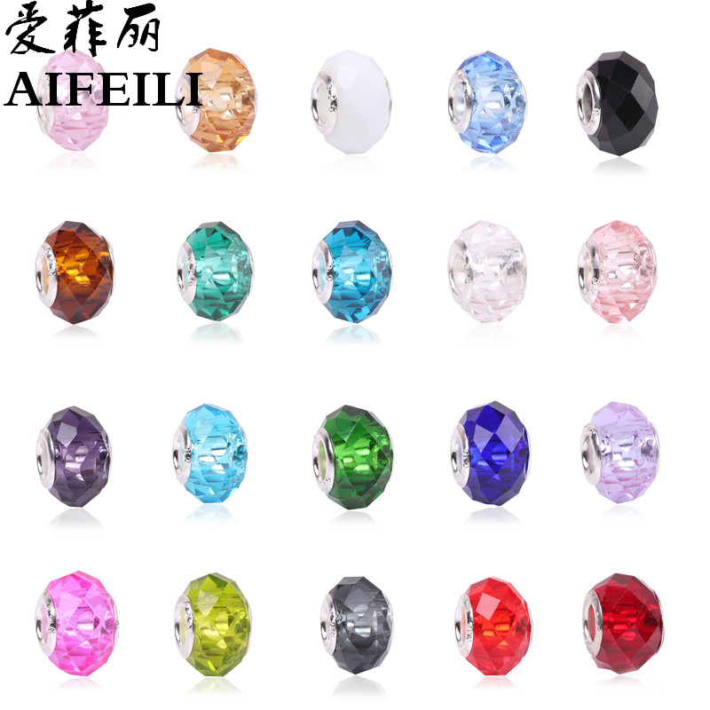 AIFEILI Fashion 20 Colors DIY Glass Beads Fit Pandora Charms Bracelets Necklaces 13*9*5mm European Beads Jewelry Making Charms