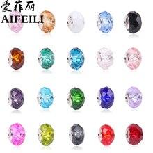 AIFEILI Fashion 20 Colors DIY Glass Beads Fit Pandora Charms Bracelets Necklaces 13 9 5mm European